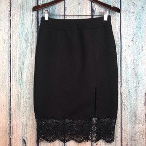 Free People Quilted Storyteller Lace Hem Skirt
